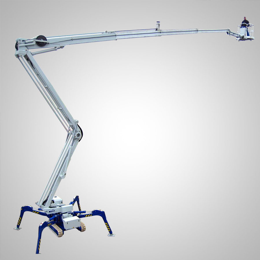 Crawler mounted articulated spider boom lift
